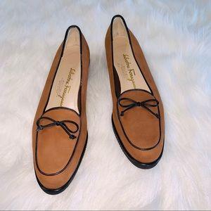 Salvatore Ferragamo Brown Bow Loafers